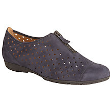 Buy Gabor Gibson Perforated Zip Detail Shoes, Navy Nubuck Online at johnlewis.com