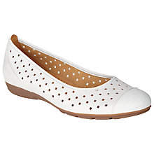 Buy Gabor Ruffle Perforated Nubuck Slip-on Shoes, Pearlised White Online at johnlewis.com