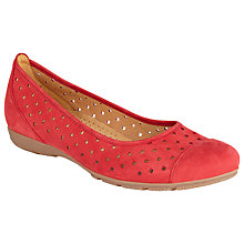 Buy Gabor Ruffle Perforated Leather Slip-on Shoes Online at johnlewis.com