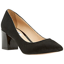 Buy Dune Alise Block Heeled Court Shoes, Black Pony Online at johnlewis.com