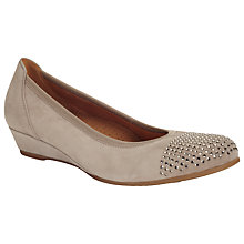 Buy Gabor Mira Suede Wedges, Beige Online at johnlewis.com