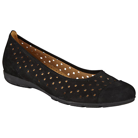 Gabor Ruffle Perforated Nubuck Slip-on Shoes Online at johnlewis.com