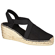 Buy John Lewis Ter Linen Wedge Heeled Espadrilles, Black Online at johnlewis.com