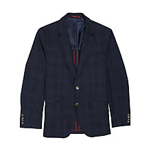 Buy Hackett London Cotton Linen Check Jacket, Navy Online at johnlewis.com