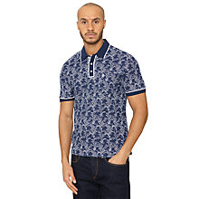 Buy Original Penguin Bamboo Print Earl Polo Shirt, Dress Blue Online at johnlewis.com