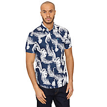 Buy Original Penguin Floral Print Short Sleeve Shirt, Dress Blue Online at johnlewis.com