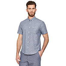 Buy Original Penguin Geometric Print Short Sleeve Shirt, Blue Online at johnlewis.com
