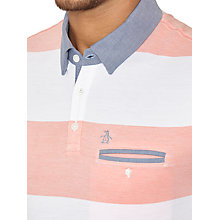 Buy Original Penguin Striped Chambray Collar Polo Shirt, White/Coral Online at johnlewis.com