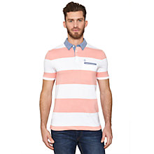 Buy Original Penguin Stripe Chambray Collar Polo Shirt, Coral/White Online at johnlewis.com