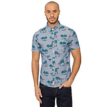 Buy Original Penguin Tropical Print Short Sleeve Shirt, Dress Blue Online at johnlewis.com