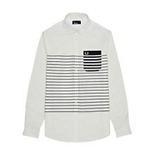Buy Fred Perry Breton Stripe Penny Collar Shirt, White Online at johnlewis.com
