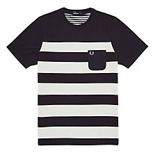 Buy Fred Perry Striped Panel T-Shirt, Navy Online at johnlewis.com