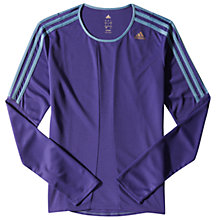 Buy Adidas Response Long Sleeve Top, Purple Online at johnlewis.com