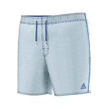 Buy Adidas Stripe Logo Swim Shorts, Navy/White Online at johnlewis.com