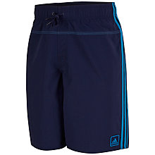 Buy Adidas 3-Stripes Logo Swim Shorts, Navy Online at johnlewis.com