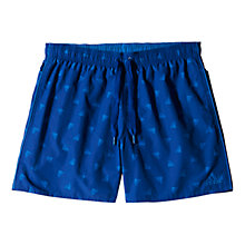Buy Adidas Logo Print Swim Shorts, Blue Online at johnlewis.com