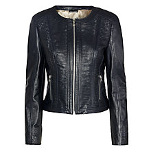 Buy Gerry Weber Leather Jacket, Indigo Online at johnlewis.com
