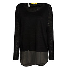 Buy BOSS Orange Layer Knit Jumper, Black Online at johnlewis.com