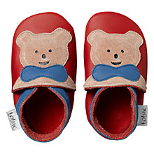 Buy Bobux Baby Leather Teddy Bear Motif Booties, Red Online at johnlewis.com