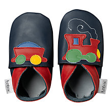 Buy Bobux Baby Leather Train Motif Booties, Navy Online at johnlewis.com