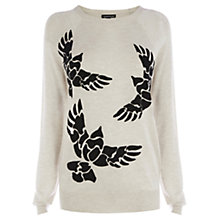 Buy Warehouse Caviar Bead Bird Jumper, Cream Online at johnlewis.com