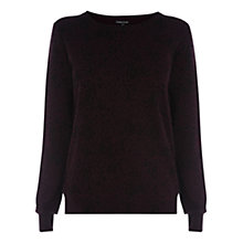 Buy Warehouse Animal Print Crew Neck Jumper, Dark Red Online at johnlewis.com