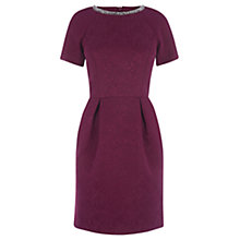 Buy Oasis Embellished Textured Lantern Dress, Deep Pink Online at johnlewis.com