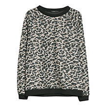 Buy Mango Stitched Leopard Jumper, Grey Online at johnlewis.com