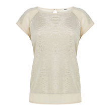 Buy Oasis Crinkle Foil Shell Top, Gold Online at johnlewis.com