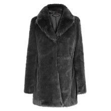 Buy Warehouse Luxe Faux Fur Coat, Light Grey Online at johnlewis.com