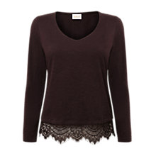Buy East V-Neck Lace Trim Top, Espresso Online at johnlewis.com