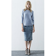 Buy Warehouse Boucle Front Jumper, Pale Blue Online at johnlewis.com