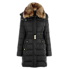 Buy Warehouse Faux Fur Collar Coat, Black Online at johnlewis.com