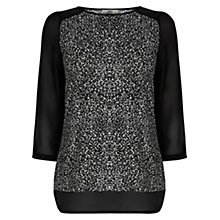 Buy Oasis Textured Print Blouse, Black/White Online at johnlewis.com