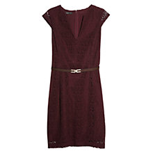 Buy Mango Guipure Dress, Dark Red Online at johnlewis.com
