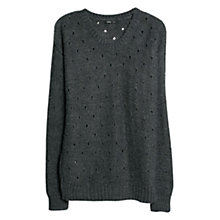 Buy Mango Openwork Detail Sweater, Dark Grey Online at johnlewis.com