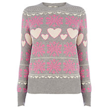 Buy Oasis Heart Snowflake Christmas Jumper, Mid Grey Online at johnlewis.com
