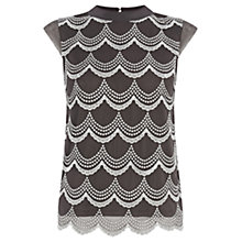 Buy Oasis Scallop Lurex Top, Grey Online at johnlewis.com