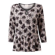 Buy East Phoebe Print Jersey Top, Smoke Online at johnlewis.com