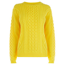 Buy Warehouse Cable Knit Jumper, Yellow Online at johnlewis.com