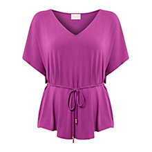 Buy East Tie Waist Jersey Top, Pink Online at johnlewis.com