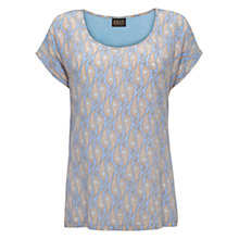 Buy East Uma Print Silk Front Tee, Sky Online at johnlewis.com
