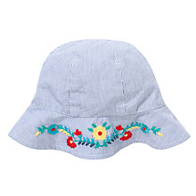 Buy John Lewis Baby's Floral Embroidery Ticking Sun Hat, Blue Online at johnlewis.com