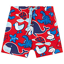 Buy John Lewis Whale Applique Board Shorts, Red/Blue Online at johnlewis.com