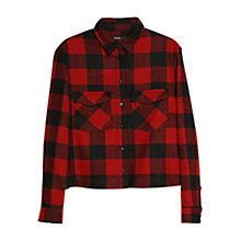 Buy Mango Check Wool Blend Overshirt, Bright Red Online at johnlewis.com