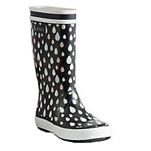 Buy Aigle Children's Raindrop Print Wellington Boots, Marine Online at johnlewis.com