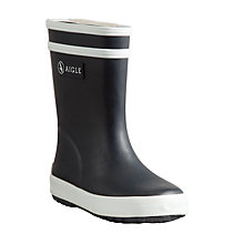 Buy Aigle Baby Flac Wellington Boots, Marine/White Online at johnlewis.com