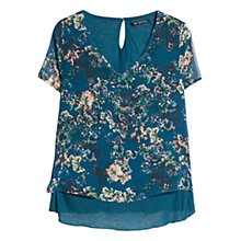 Buy Mango Floral Print Blouse, Dark Green Online at johnlewis.com