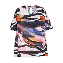 Buy Mango Printed Flowy Blouse, Black Online at johnlewis.com