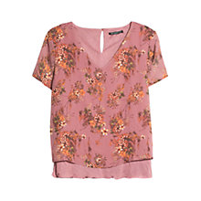 Buy Mango Floral Print Blouse, Light Pastel Pink Online at johnlewis.com